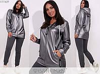 Удлиненная куртка женская без подклада с капюшоном - Серый, фото 1