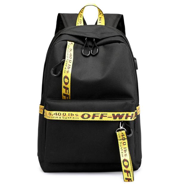 Рюкзак городской молодежный Off White черно желтыми вставками