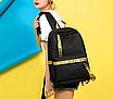 Рюкзак міський молодіжний Off White чорно жовтими вставками, фото 3