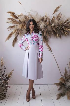 """Комбинированное офисное миди-платье """"Ethel"""" с имитацией блузы, фото 2"""
