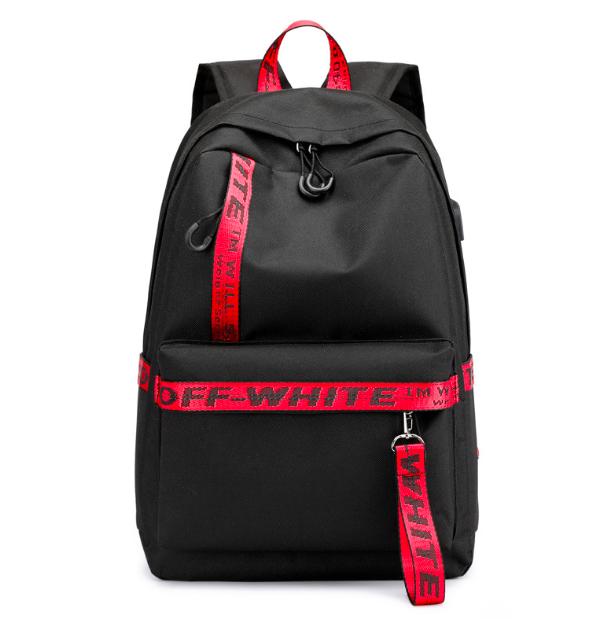 Рюкзак городской молодежный Off White черно красными вставками