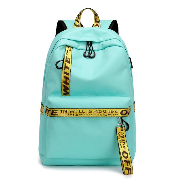 Рюкзак городской женский Off White бирюзовый с желтыми вставками
