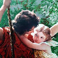 Вышивка бисером ''Мальчик с девочкой на качели''
