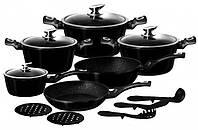 Набор посуды из 15 предметов Edenberg с мраморным покрытием Черный (EB-5611)