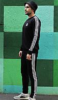 Мужской спортивный костюм Adidas весенний-осенний черный. Живое фото