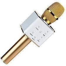 Беспроводной Микрофон Q7 ЗОЛОТОЙ Блютуз Караоке и динамик Bluetooth
