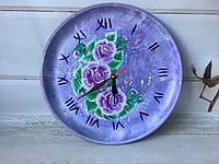 Эксклюзивные настенные часы с ручной росписью сиреневые d 30 см, фото 1