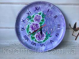 Эксклюзивные настенные часы с ручной росписью сиреневые d 30 см