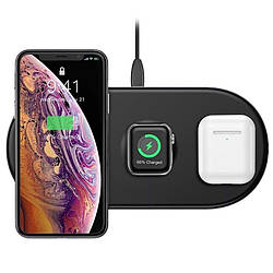 Беспроводная зарядка Quick Charge 3в1 Baseus 18 Вт Wireless Smart для Iphone Apple watch Airpods (WX3IN1-01)