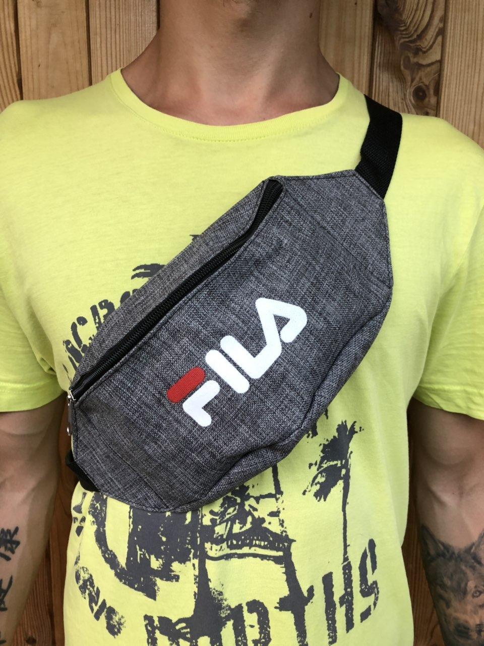 Поясная сумка серая в стиле Fila, 2 отделения (Бананка), из мессенджер pvc, банан, трендовая сумка, фила