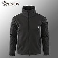 """🔥 Куртка Soft Shell с прячущимся капюшоном """"ESDY. TAC-110"""" - Черная (непромокаемая, полицейская)"""