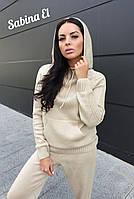 Вязаный женский костюм с худи и штанами на манжетах 710134, фото 1