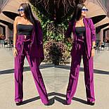 Женский брючный костюм с брюками клеш с завышенной талией и пиджаком 5810137, фото 5