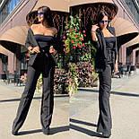 Женский брючный костюм с брюками клеш с завышенной талией и пиджаком 5810137, фото 8