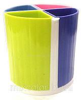 Подставка для ручек на 4 отделения (пластик), разноцветная