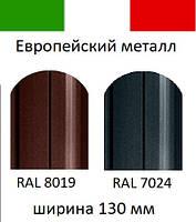 АКЦИЯ!!! ИТАЛИЯ. Матовый двухсторонний штакетник метал (евроштакетник, штахет), 0,45 мм RAL 8019, 7024 130 мм