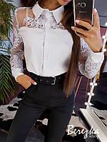 Белая женская рубашка с кружевными рукавами 66BL290Е