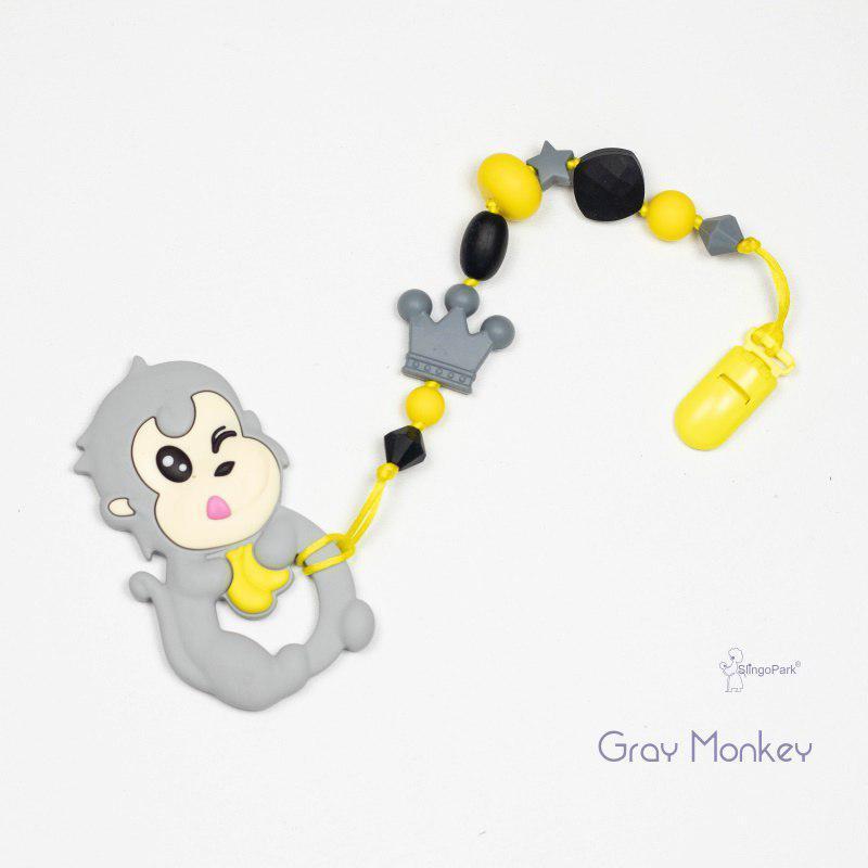 Грызунок из пищевого силикона BABY MILK TEETH Gray Monkey