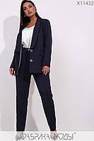 Брючный женский классический костюм в больших размерах с прямым пиджаком 1BR200