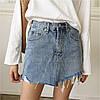 Джинсовая женская юбка Coardiarn трапеция с рваными краями голубая XL