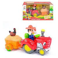 """Набор игровой трактор с прицепом со светом и звуком, 30 см, Qunxing toys """"Фермер"""" (HD963)"""