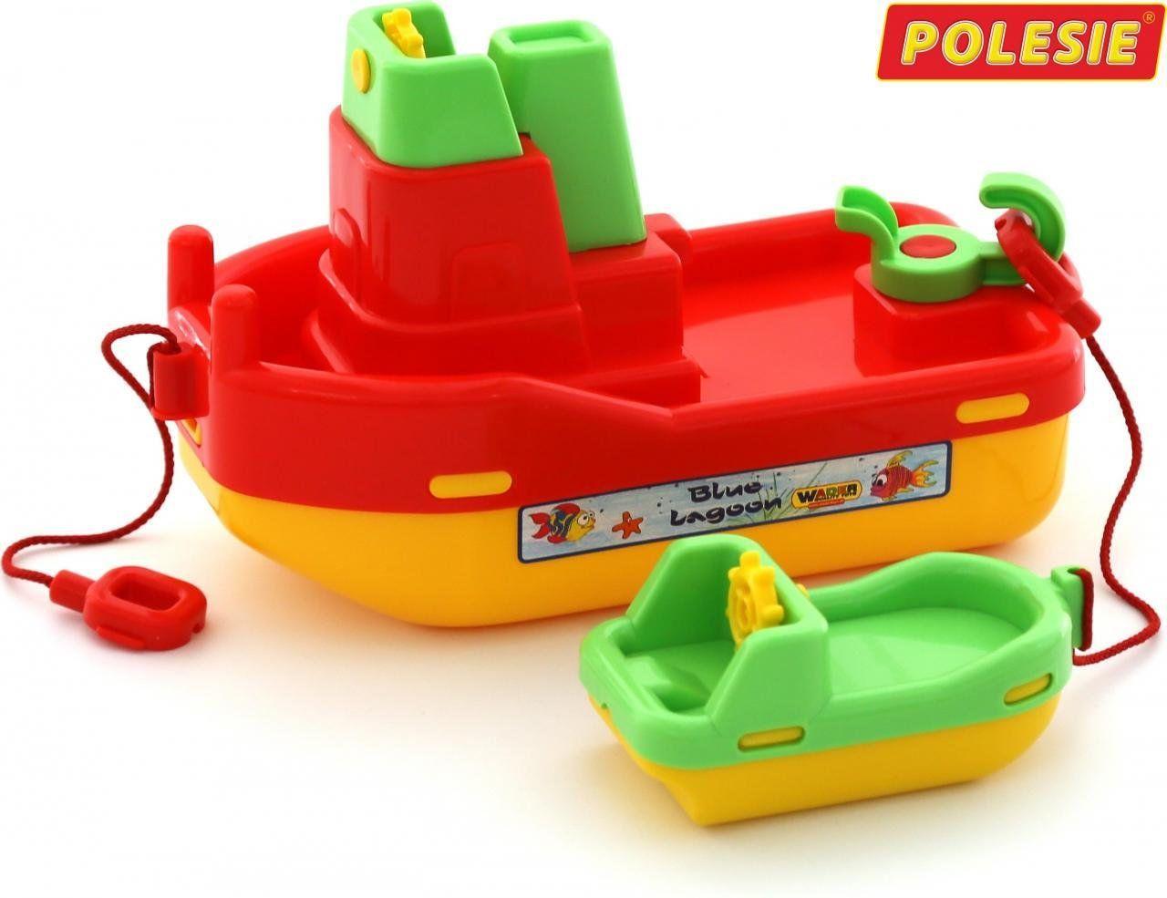 """Детские кораблики для ванной, №402: буксир """"Лагуна"""", кораблик №4 красный (41227-1), Полесье"""