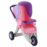 Игрушечная коляска для кукол прогулочная 3-х колёсная, розово-фиолетовая, в пакете, Polesie (48127-1)