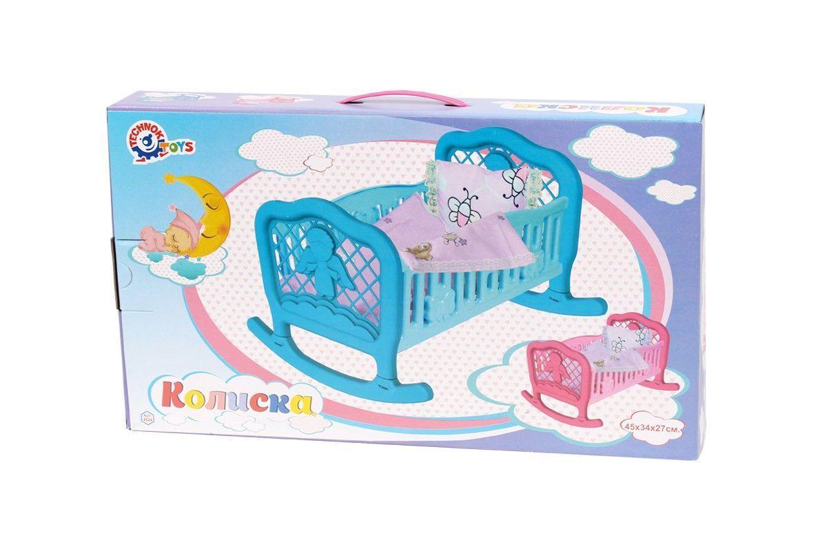 Колыбель-кроватка с одеялом Technok для пупса голубая (4524-2)