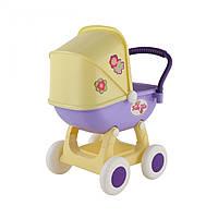 Детская игрушка коляска для кукол с люлькой, 4-х колёсная желтая, в пакете, Polesie (48202-1)