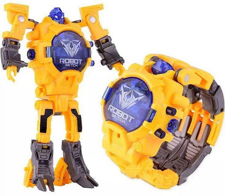 Часы Робот Трансформер, желтый, (Аналог Тоботов), Maya Toys