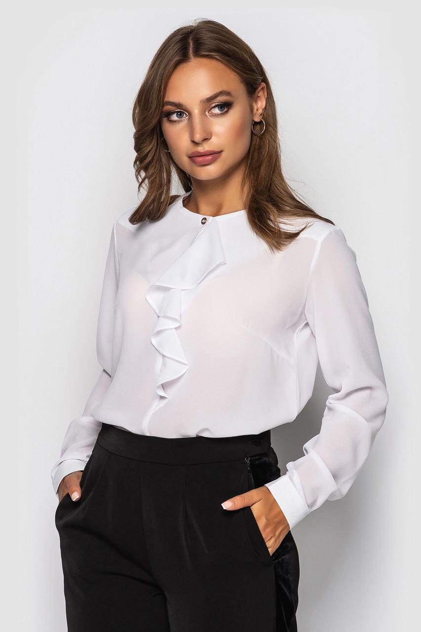 Шифоновая женская свободная блуза с рюшей на груди 65ru296