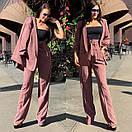 Женский брючный костюм с брюками клеш с завышенной талией и пиджаком 58ks137, фото 2