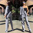Женский брючный костюм с брюками клеш с завышенной талией и пиджаком 58ks137, фото 3