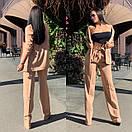 Женский брючный костюм с брюками клеш с завышенной талией и пиджаком 58ks137, фото 4