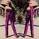 Женский брючный костюм с брюками клеш с завышенной талией и пиджаком 58ks137, фото 5