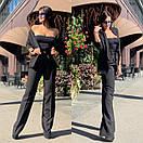 Женский брючный костюм с брюками клеш с завышенной талией и пиджаком 58ks137, фото 8