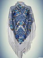 Шерстяной платок Дамский каприз, белый с бирюзой 140см