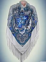 Шерстяной платок Берегиня, белый с бирюзой 140см