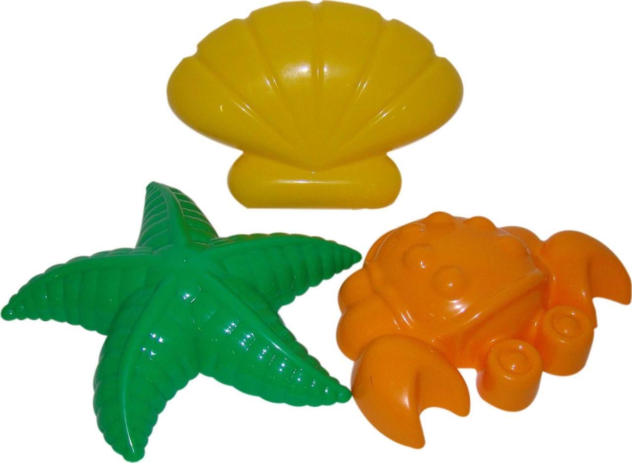 """Игровой набор Polesie формочки """"краб"""", """"морская звезда"""", """"ракушка"""" (36544-2)"""