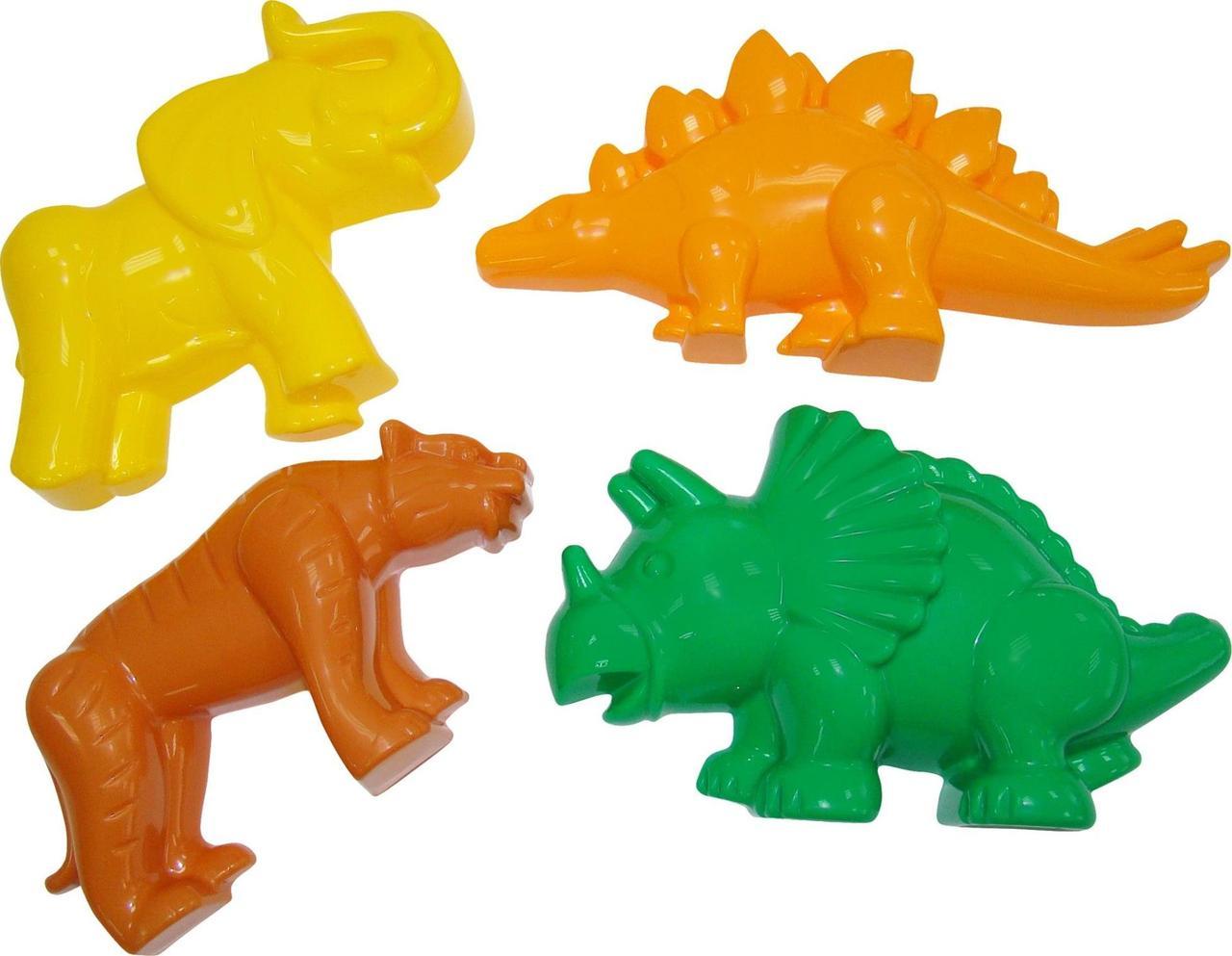 """Игровой набор Polesie формочки """"тигр"""", """"мамонт"""", """"динозавр №1"""", """"динозавр №2"""" (36568-1)"""