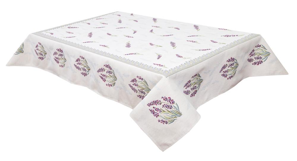 Скатерть тканевая гобеленовая цветы лаванда ткань 137 х 180 см