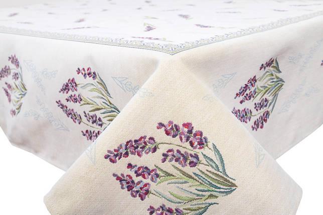 Скатерть тканевая гобеленовая цветы лаванда ткань 137 х 180 см, фото 2