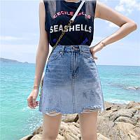 Джинсовая женская юбка Coardiarn трапеция Градиент голубая M, фото 1