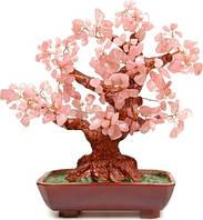 Дерево из камня розовый кварц