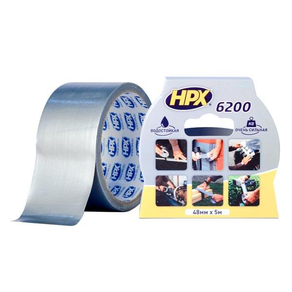 HPX 6200 - армированная ремонтная лента (скотч), серебристая - 50мм x 5м