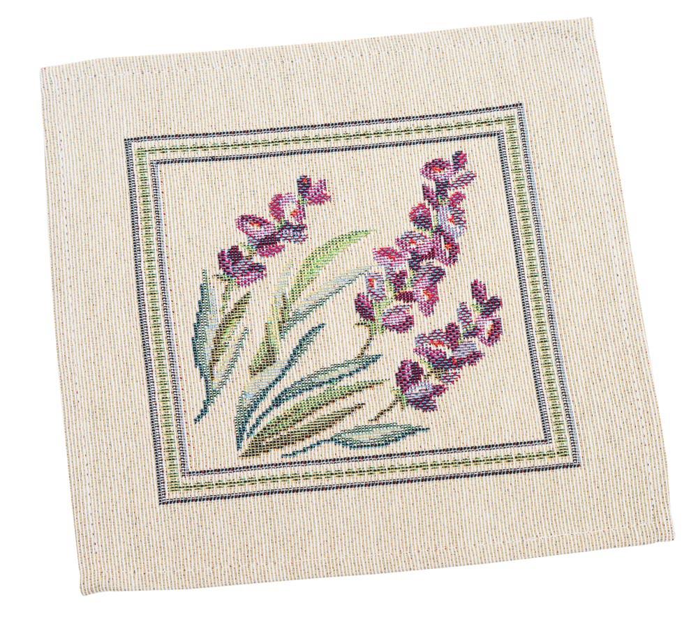 Салфетка под тарелку пасхальная тканевая гобеленовая цветы с цветами 17 х 18 см салфетки под тарелки