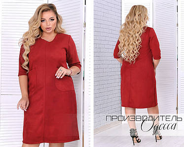 Модное женское платье свободного кроя из замши в 3-х цветах батал 50-64 размер, фото 2
