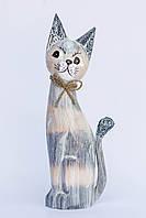 Кот дымчатый с бантиком ,высота 40см