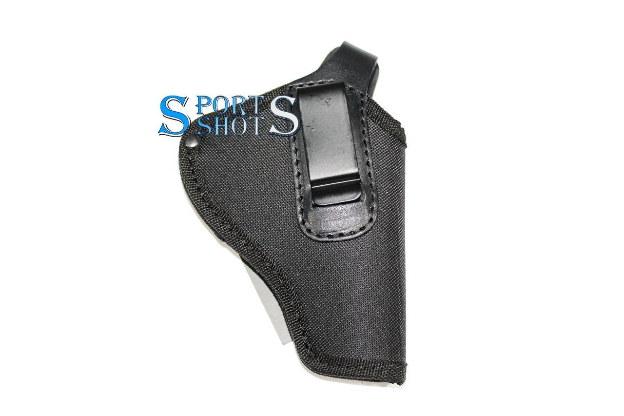 """Кобура поясна Револьвер 3"""" з кліпсою (oxford 600d/шкіра, чорна)"""
