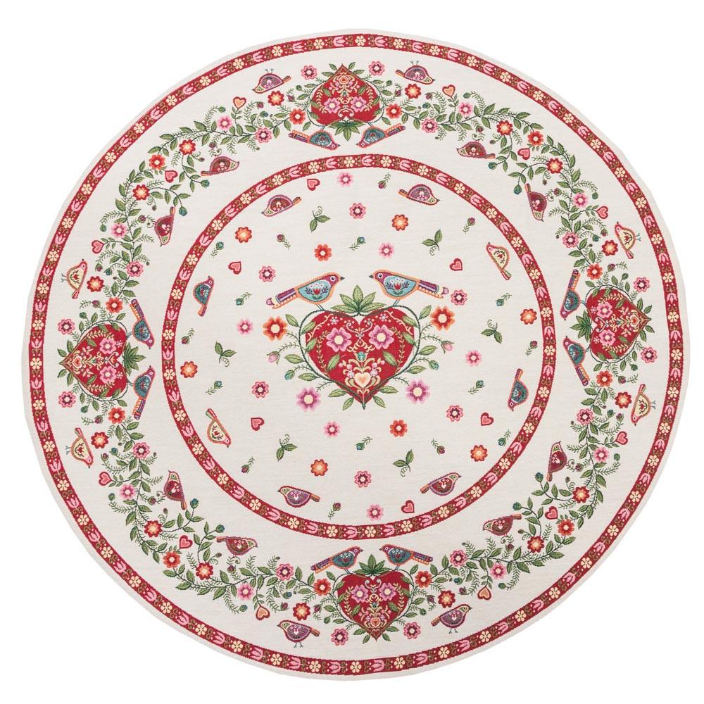 Скатерть гобеленовая пасхальная круглая птицы цветы Ø90 см